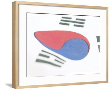 Close-Up of Blue and Red Yin-Yang Symbol on South Korean Flag--Framed Art Print