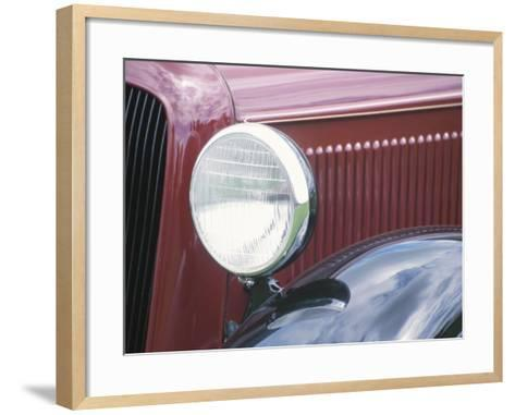 Close-Up of a Headlight on an Antique Vintage Red Car--Framed Art Print