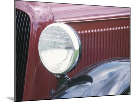 Close-Up of a Headlight on an Antique Vintage Red Car--Mounted Photographic Print