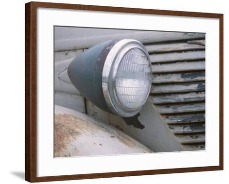 Close-Up of a Headlight on an Old Rusty Vintage Car--Framed Art Print