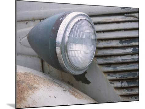 Close-Up of a Headlight on an Old Rusty Vintage Car--Mounted Photographic Print