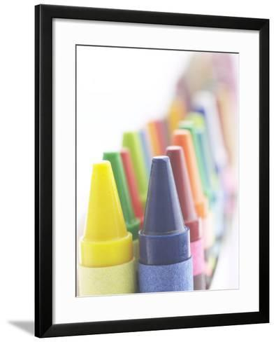 Two Lines of Pointed Wax Crayons of Various Different Colors--Framed Art Print