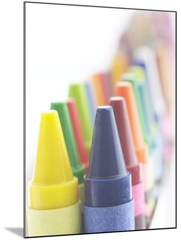 Two Lines of Pointed Wax Crayons of Various Different Colors--Mounted Photographic Print