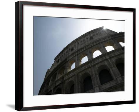 Sun Shining Through Ruins of the Coliseum, Rome, Italy--Framed Art Print