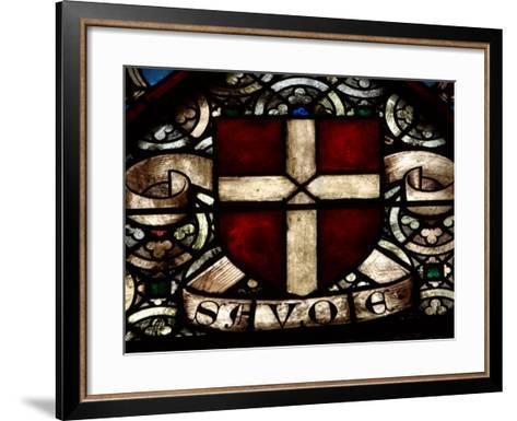 Close-Up of Ornate and Colorful Stained Glass in Switzerland--Framed Art Print
