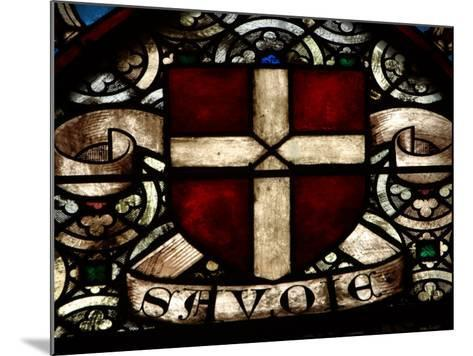 Close-Up of Ornate and Colorful Stained Glass in Switzerland--Mounted Photographic Print