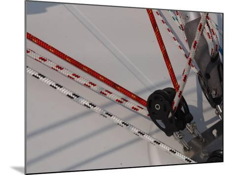 Close-Up of Ropes and Pulley Used for Sailboat Rigging--Mounted Photographic Print