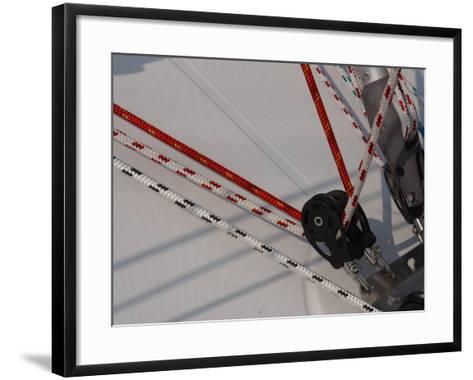 Close-Up of Ropes and Pulley Used for Sailboat Rigging--Framed Art Print