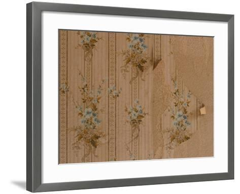 Close-Up of Old Peeling Wallpaper with Floral Pattern--Framed Art Print