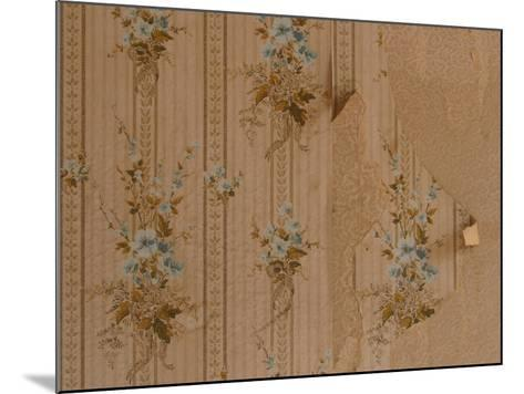 Close-Up of Old Peeling Wallpaper with Floral Pattern--Mounted Photographic Print