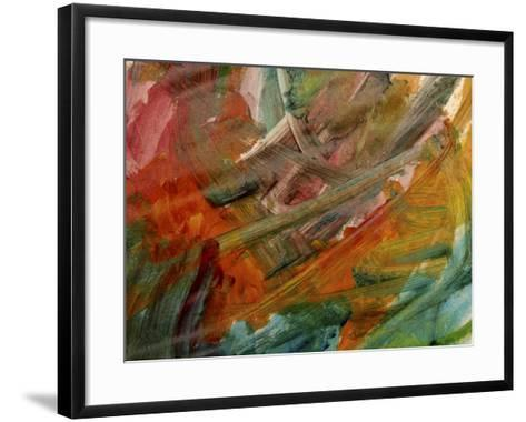 Brush Strokes on Abstractly Painted Background--Framed Art Print