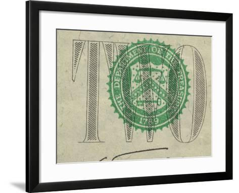 Close-Up of Text and Symbol on Two Dollar Bill--Framed Art Print