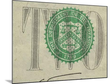 Close-Up of Text and Symbol on Two Dollar Bill--Mounted Photographic Print