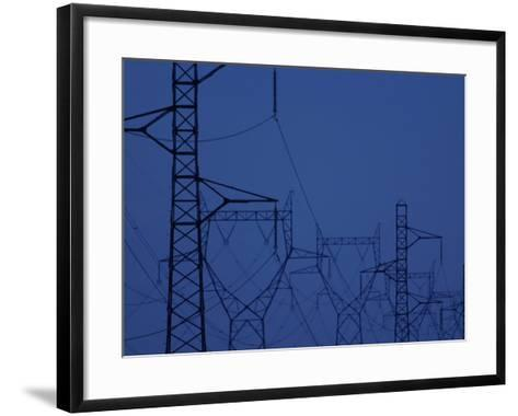 Silhouette of Towers with High Voltage Power Lines at Twilight--Framed Art Print