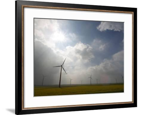 Eco-Friendly Windmills in Rural Field of Flowers under Cloudy Sky in the Netherlands--Framed Art Print