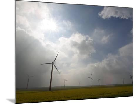 Eco-Friendly Windmills in Rural Field of Flowers under Cloudy Sky in the Netherlands--Mounted Photographic Print