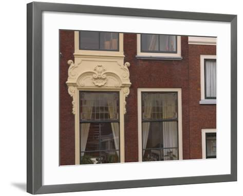 Old-Fashioned Brick Building Exterior with Ornate Doorway and Windows in the Netherlands--Framed Art Print