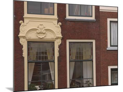 Old-Fashioned Brick Building Exterior with Ornate Doorway and Windows in the Netherlands--Mounted Photographic Print