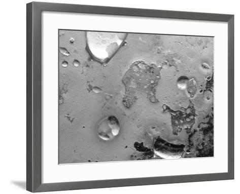 Droplets of Water on Gray Mottled Steel Surface--Framed Art Print