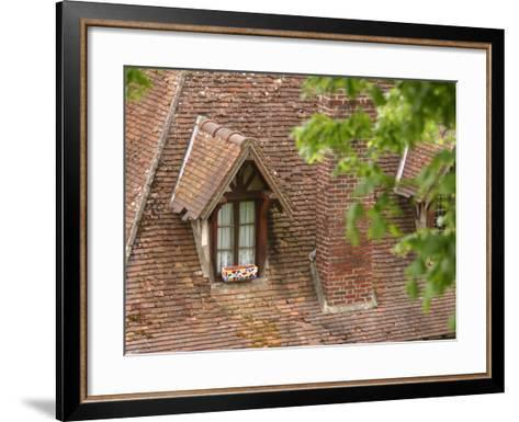 Exterior of Brick Building with Window and Shingles on Rooftop--Framed Art Print