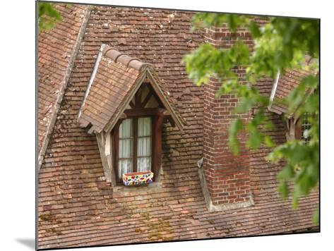 Exterior of Brick Building with Window and Shingles on Rooftop--Mounted Photographic Print