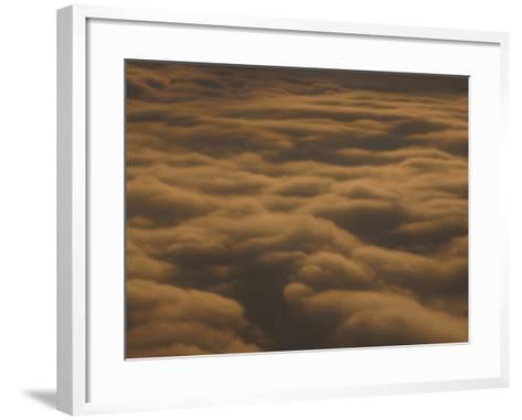 Fluffy Clouds in Vast Peaceful Sky at Dusk--Framed Art Print