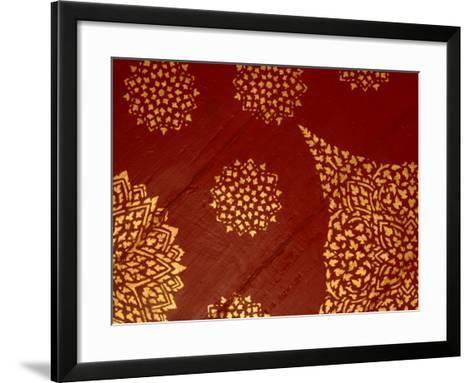 Decorative Gold Pattern on Ornate Red Textile--Framed Art Print