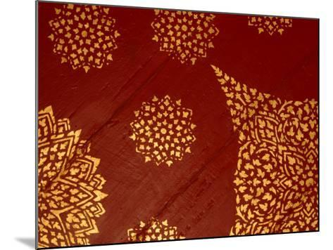 Decorative Gold Pattern on Ornate Red Textile--Mounted Photographic Print