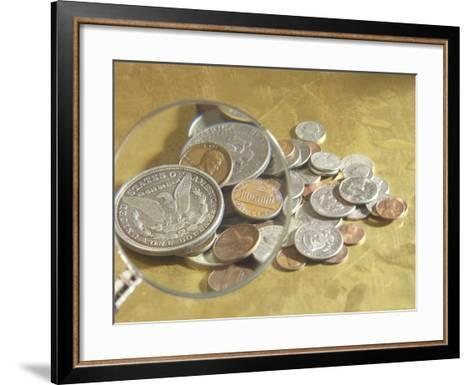 Magnifying Glass on American Coins--Framed Art Print