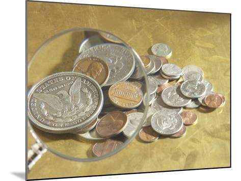 Magnifying Glass on American Coins--Mounted Photographic Print