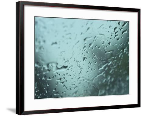 Close-Up of Design of Water Droplets on Glass Surface--Framed Art Print