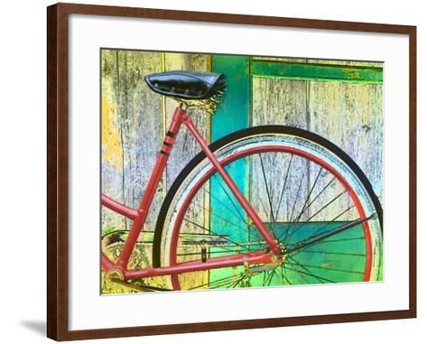 Bicycle Resting Against Colorful Barn Door--Framed Art Print