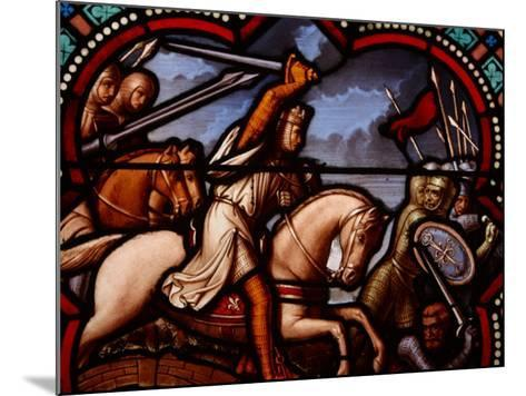 Stained Glass Window in Church in France Depicting Battle Scene with Knight on Horseback--Mounted Photographic Print