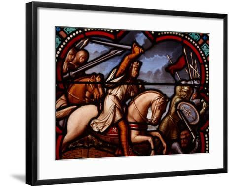 Stained Glass Window in Church in France Depicting Battle Scene with Knight on Horseback--Framed Art Print