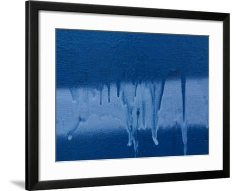 Blue and White Paint Dripping Down Wall--Framed Art Print