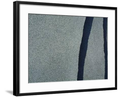 Abstract Black Lines in Smooth Gray Stone--Framed Art Print
