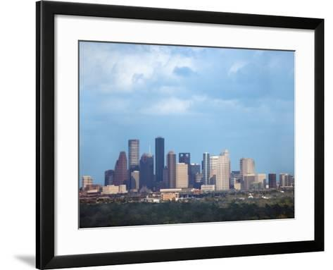 Buildings and High Rises in Skyline of Houston, Texas at Night--Framed Art Print
