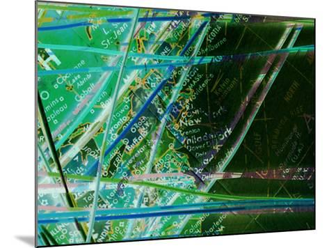 Map of New York with Network Lines Connecting Cities--Mounted Photographic Print
