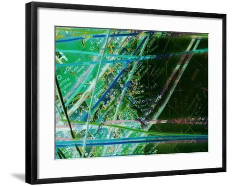 Map of New York with Network Lines Connecting Cities--Framed Art Print
