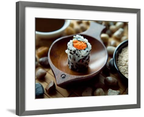 Traditional Sushi Roll in Wooden Dish--Framed Art Print