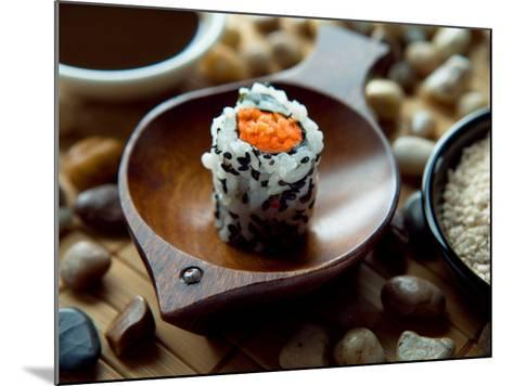 Traditional Sushi Roll in Wooden Dish--Mounted Photographic Print