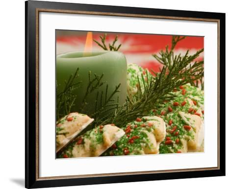 Tray of Decorative Christmas Cookies and Holiday Candle--Framed Art Print