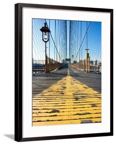 Historical Landmark of Brooklyn Bridge in New York City, New York--Framed Art Print