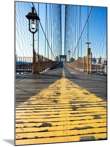 Historical Landmark of Brooklyn Bridge in New York City, New York--Mounted Photographic Print