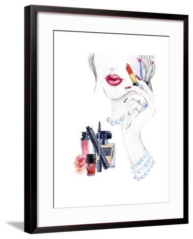 Woman Portrait with Lipstick-tanycya-Framed Art Print