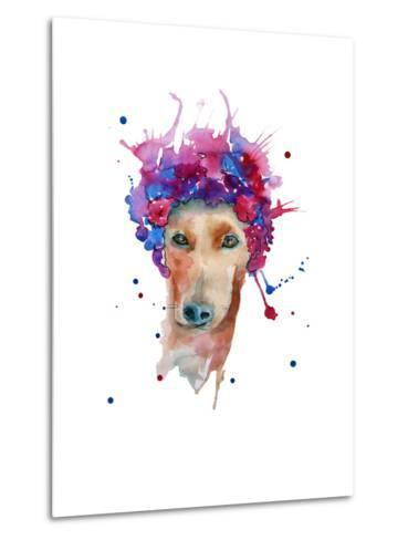 Dog in a Wreath of Flowers. Isolated. Watercolor- luchioly-Metal Print
