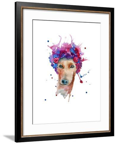 Dog in a Wreath of Flowers. Isolated. Watercolor- luchioly-Framed Art Print
