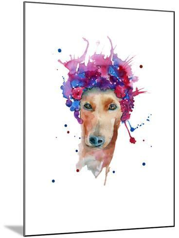 Dog in a Wreath of Flowers. Isolated. Watercolor- luchioly-Mounted Art Print