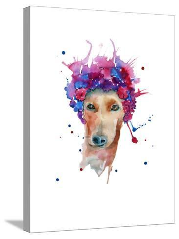 Dog in a Wreath of Flowers. Isolated. Watercolor- luchioly-Stretched Canvas Print