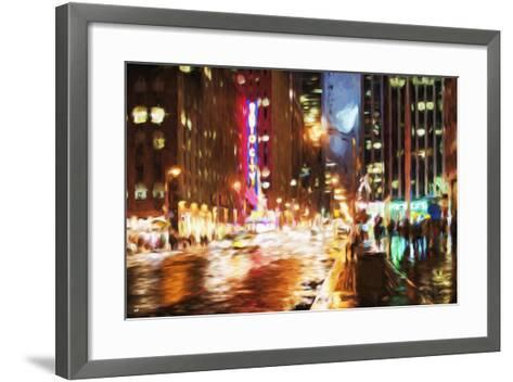 Manhattan Night II - In the Style of Oil Painting-Philippe Hugonnard-Framed Art Print